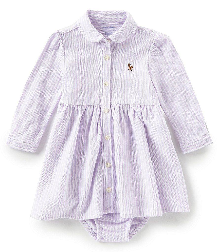 5d352375fe4e Ralph Lauren Childrenswear Baby Girls 3-24 Months Striped Oxford Shirtdress