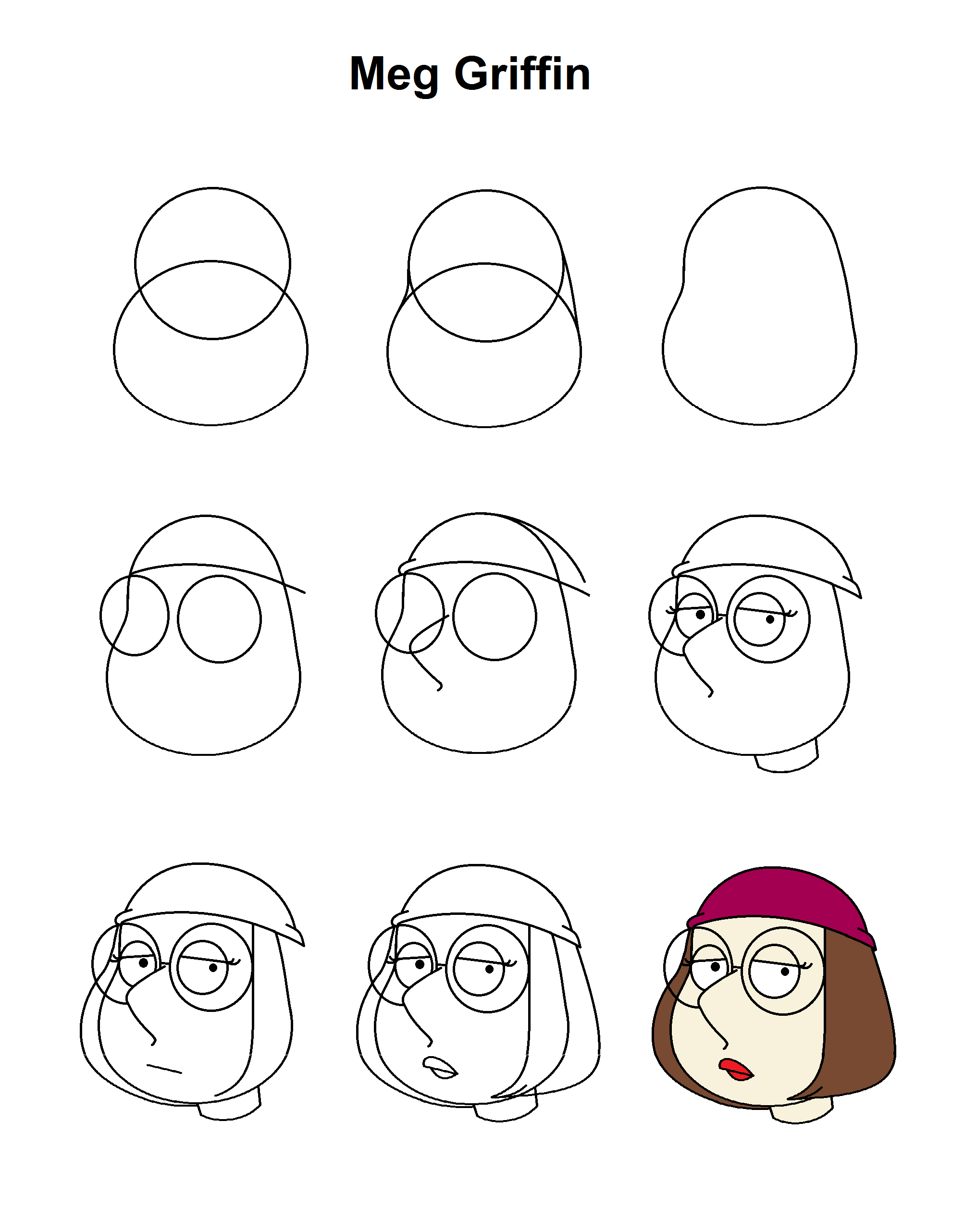 Meg Griffin Step By Step Tutorial Drawing Tutorial Cute Easy Drawings Cartoon Drawing Tutorial