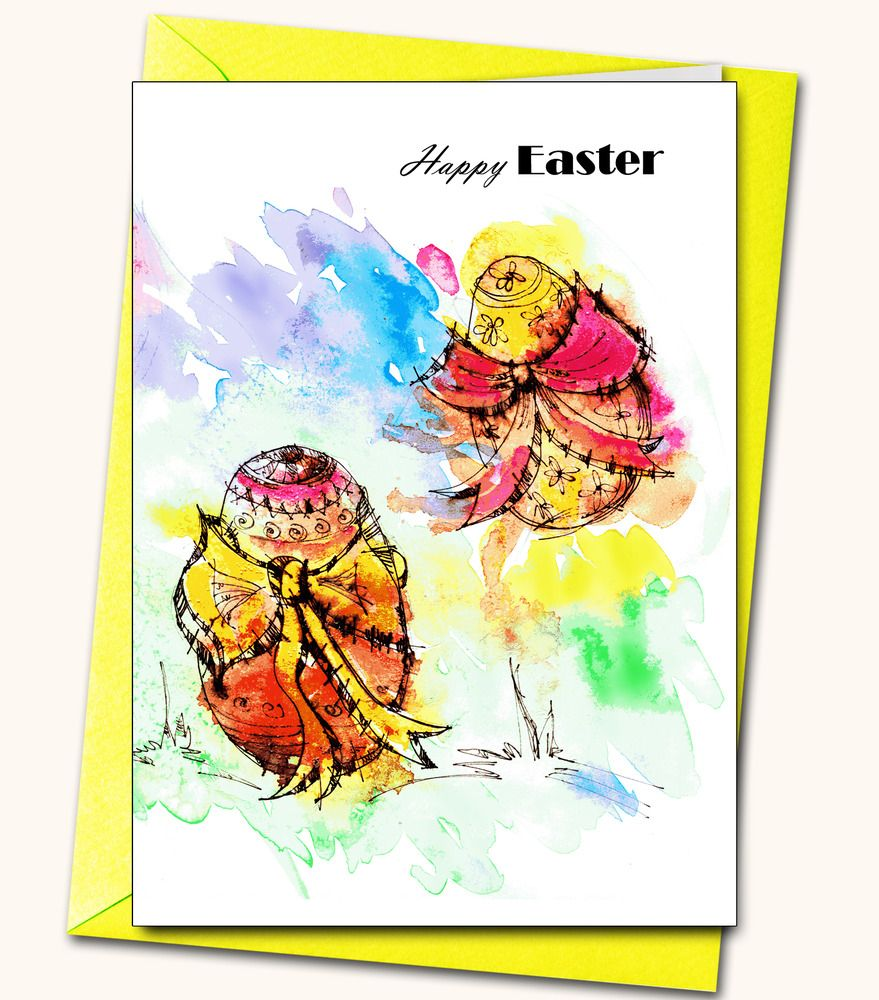 Easter, watercolour, personalised, greeting, handmade, glitter, gems #LubaFenwickGifts #Easter