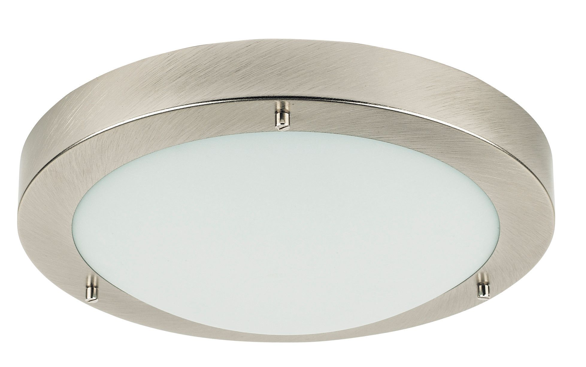 Portal Silver Brushed Chrome Effect Bathroom Flush Light Departments Diy At B Amp Q Bathroom Lighting Flush Lighting Bathroom Ceiling Light