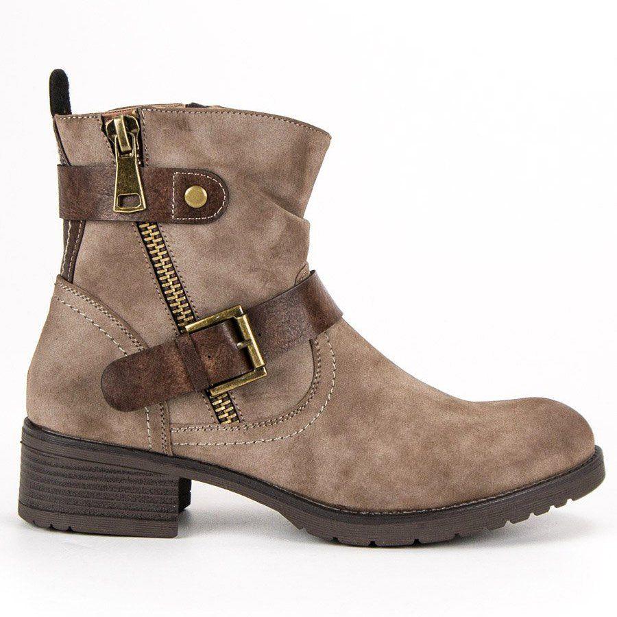 Jesienne Botki Vinceza Brazowe Biker Boot Boots Shoes