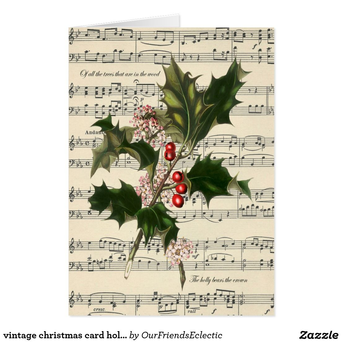 vintage christmas card holly