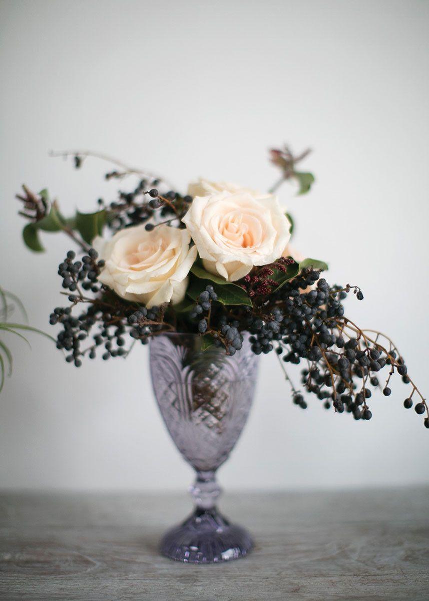 Decorative Rosalie Colored Glass Chalice Vase in Lavender