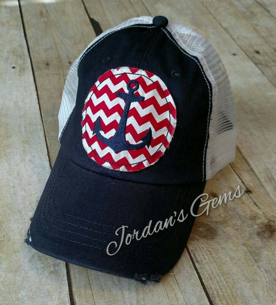 Custom Trucker Hat Baseball Cap Nautical Anchor with Heart B Embroidery Snaps
