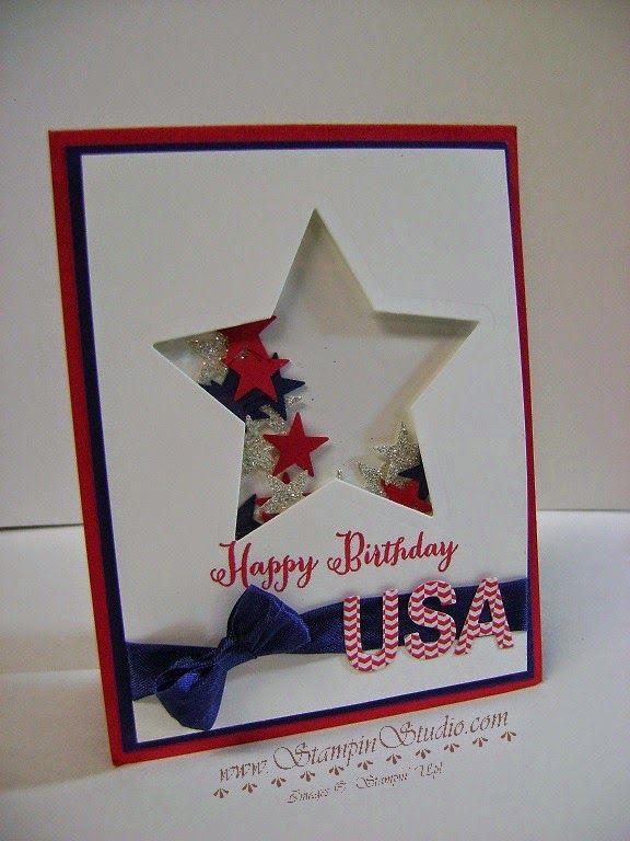 Stampin Studio Happy Birthday Usa Shaker Cards Military Cards Cards Handmade