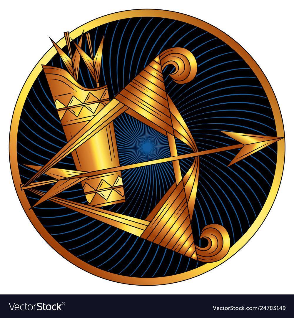 Sagittarius, zodiac sign of gold, astrological icon