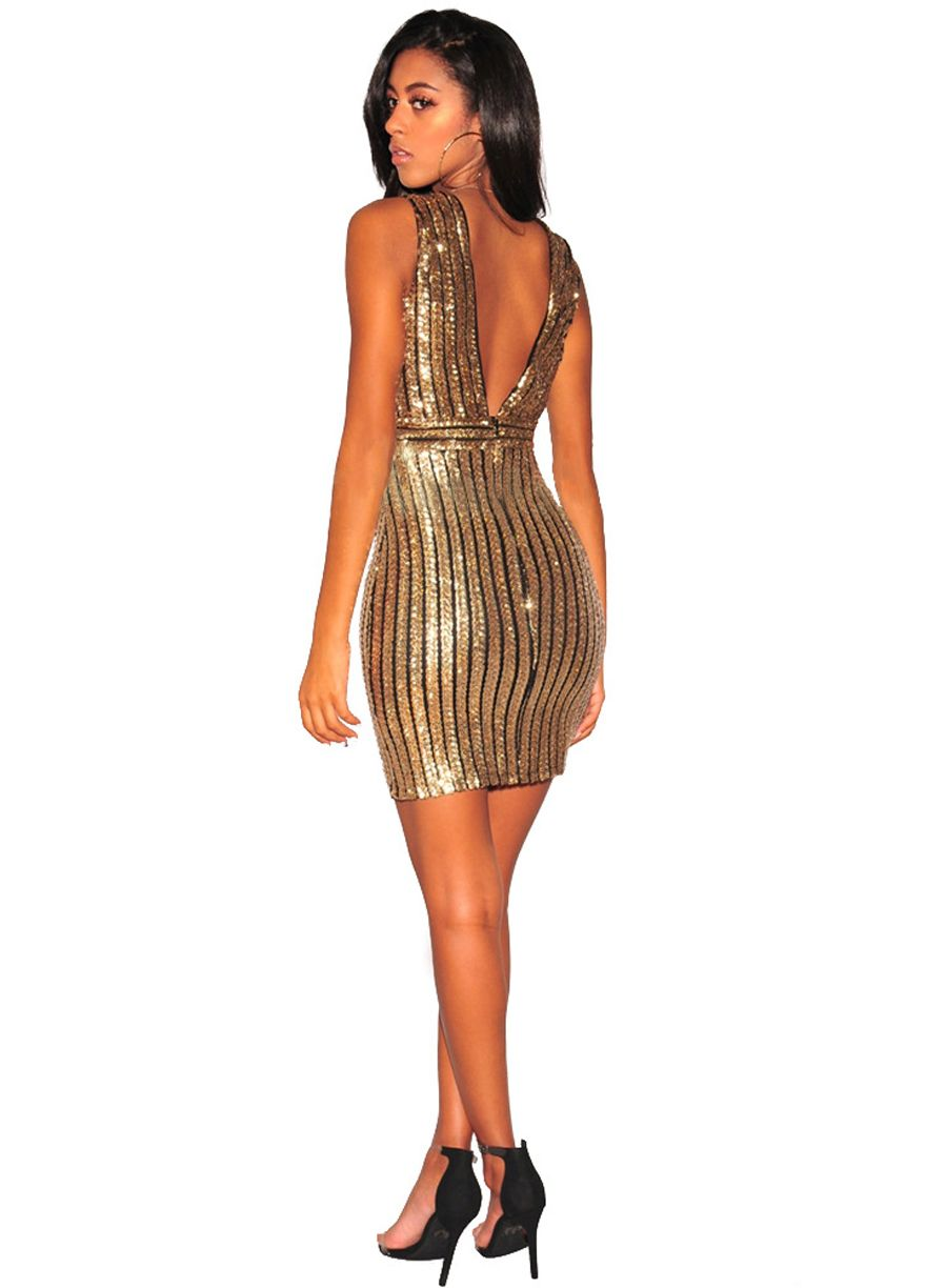 Black Gold Stripe Daring Back Sequin Dress_Club Dress_Clubwear ...