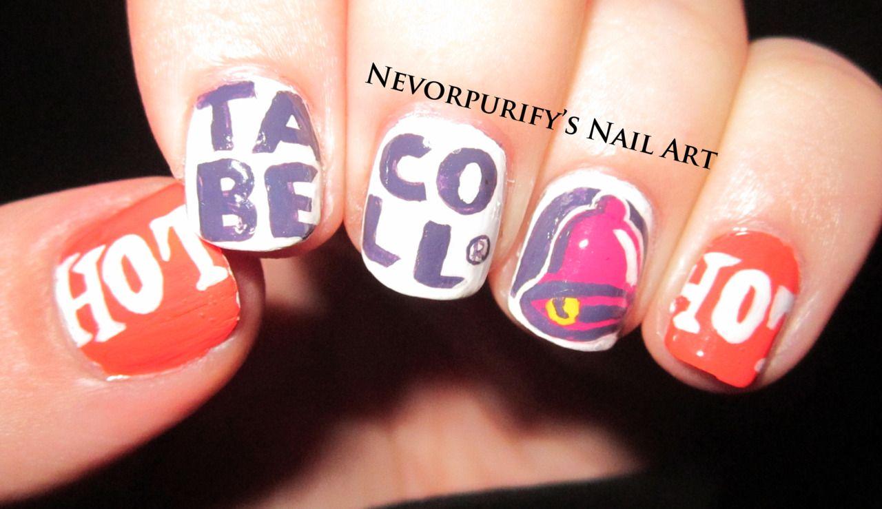 Taco bell nail artjust for my sister makeup pinterest taco
