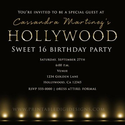 black and gold hollywood lights birthday party invitation, Party invitations
