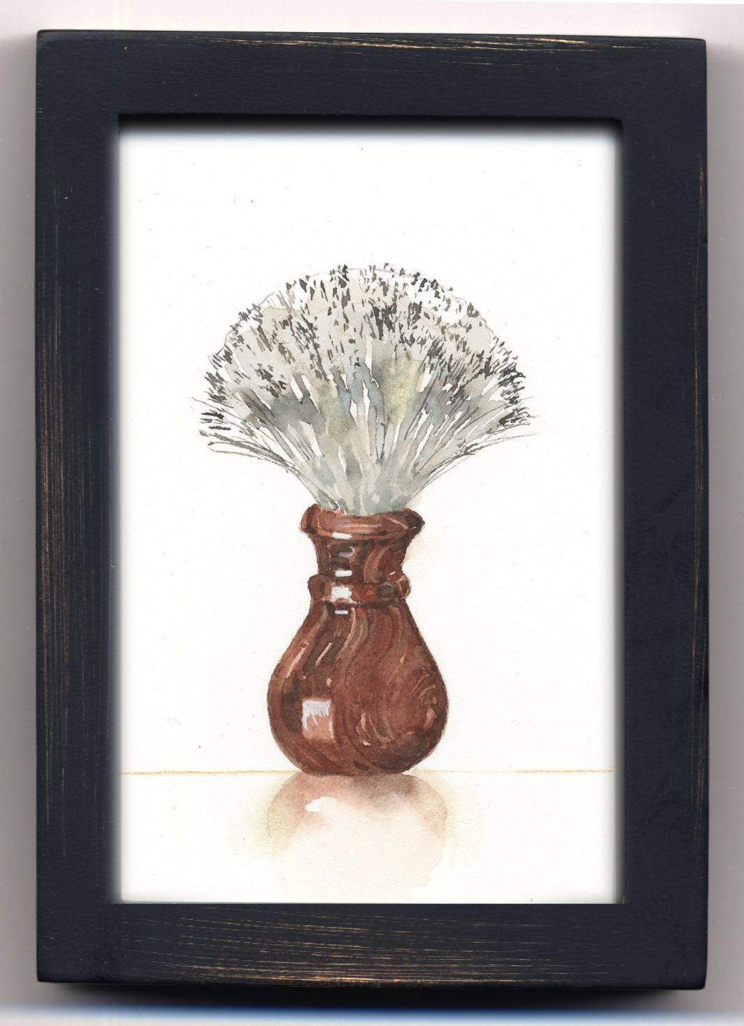 Watercolor, shaving brush in a small black shadow box frame, by Jake ...