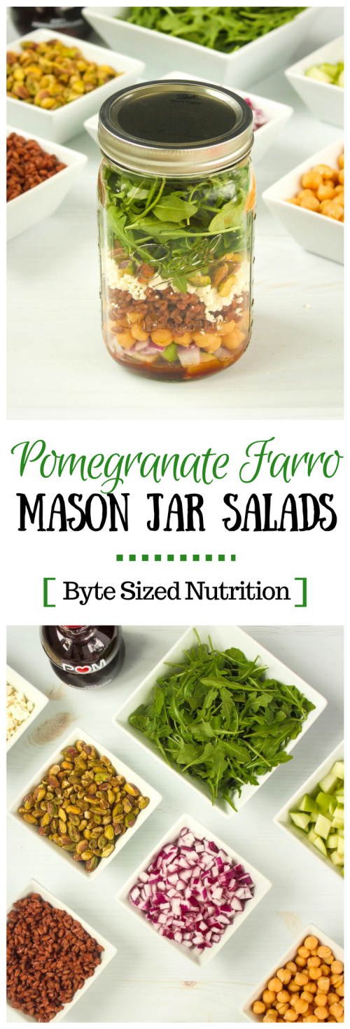 #ad Shake up your lunch time routine (literally!) with make-ahead Pomegranate Farro Mason Jar Salads. A quick, easy, and portable salad that will stay fresh in your fridge all week long! | www.bytesizednutrition.com #masonjarsalad #mealprep #healthylunch #mealpreplunch