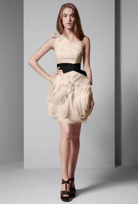 Brides: White By Vera Wang. One Shoulder Organza Dress With Black Belt.  Available