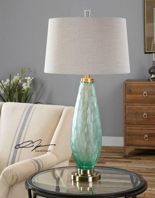 Lenado Sea Green Glass Table Lamp Lighting For Beach Homes