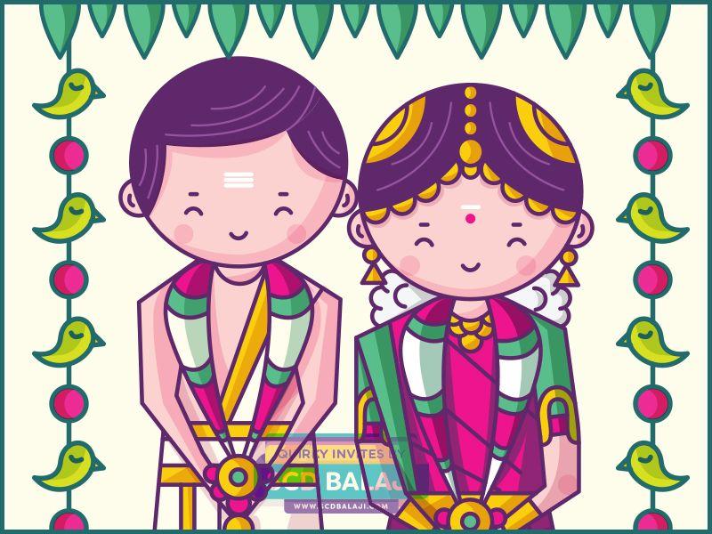 Tamil Iyer Brahmin Wedding Invitation Card Design and Illustration ...