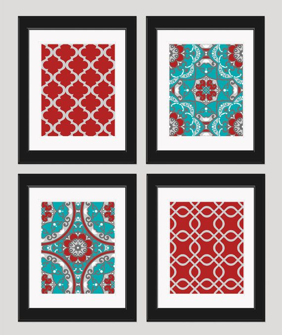 Red And Turquoise Decor Set Of 4 8x10 Art Prints By Inkandnectar 45 00