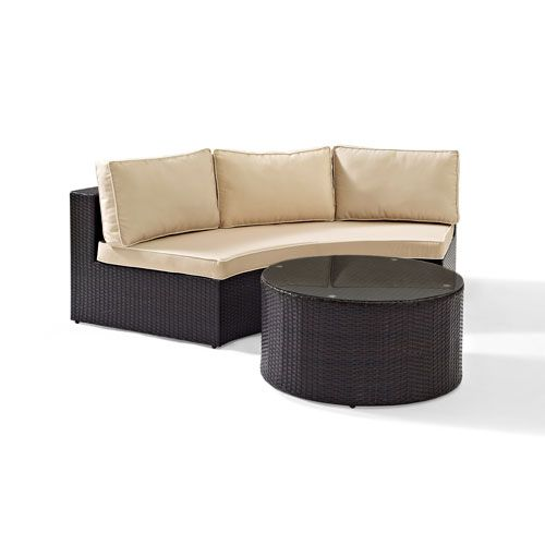 Catalina 2 Piece Outdoor Wicker Seating Set With Sand Cushions Round Sectional Sofa With Round G Outdoor Wicker Seating Outdoor Wicker Outdoor Deck Furniture