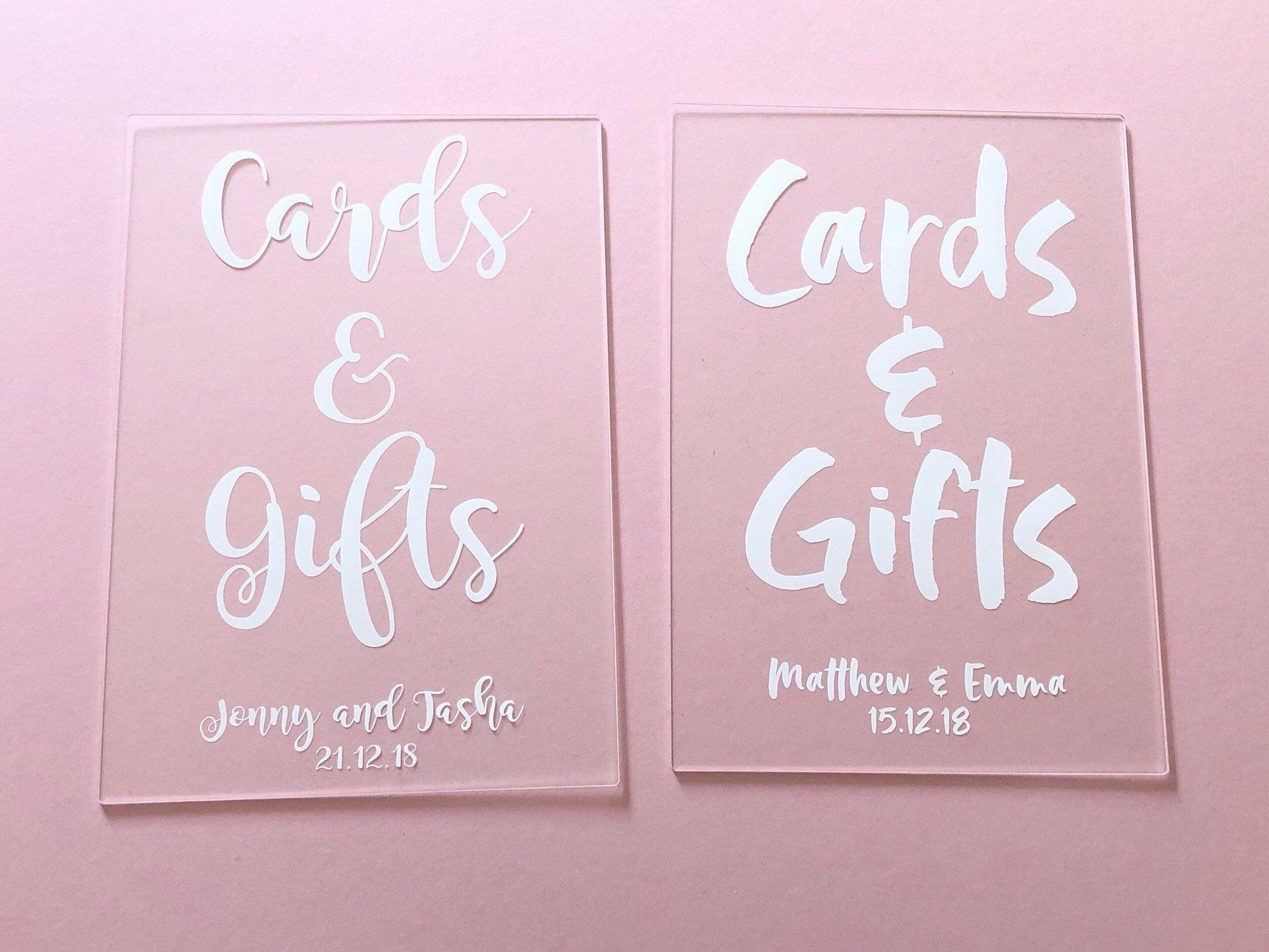 Perspex Acrylic Wedding Signs Cards & Gifts Sign Our