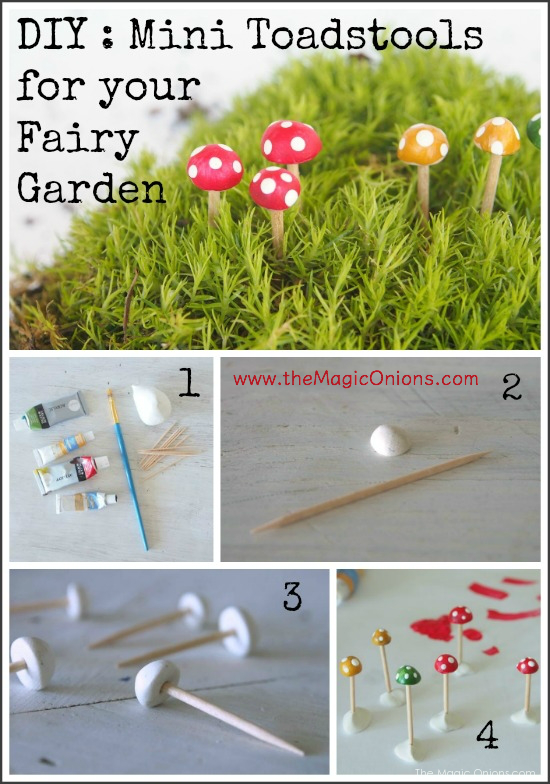 Make Adorable Mini Toadstools For Your Fairy Garden Diy Tutoiral Www Themagiconions