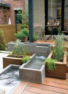 moderne terrassengestaltung mit holzboden teiche aus beton, Gartenarbeit ideen