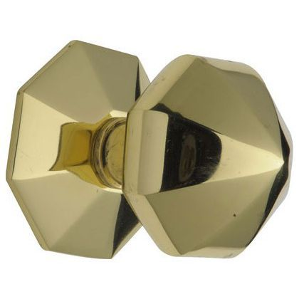 Octagonal Centre Door Knob - Brass at Homebase -- Be inspired and ...