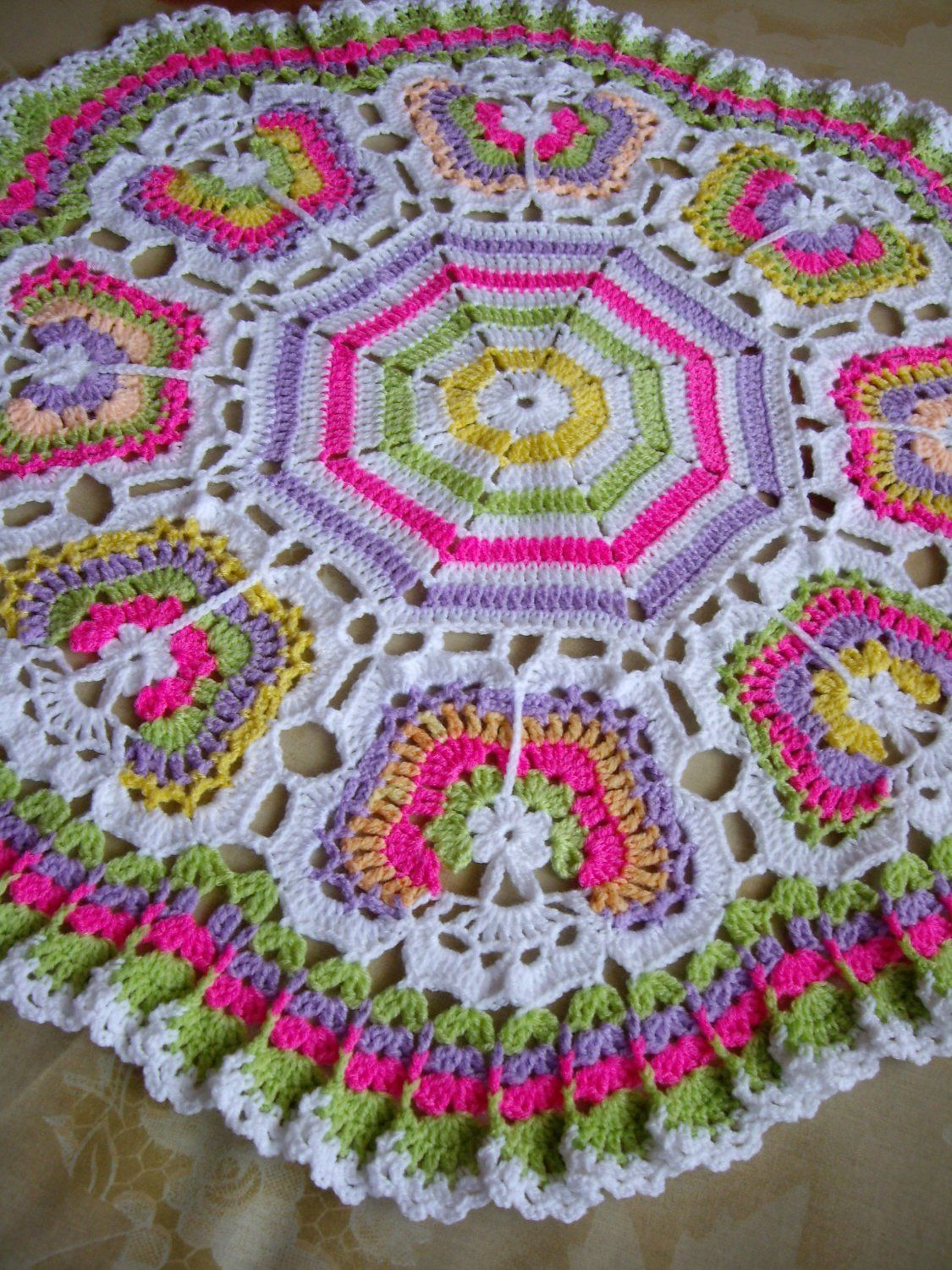 Butterflies+Crochet+Blanket...Granny+Squares+Baby+Afghan...Colorful+ ...