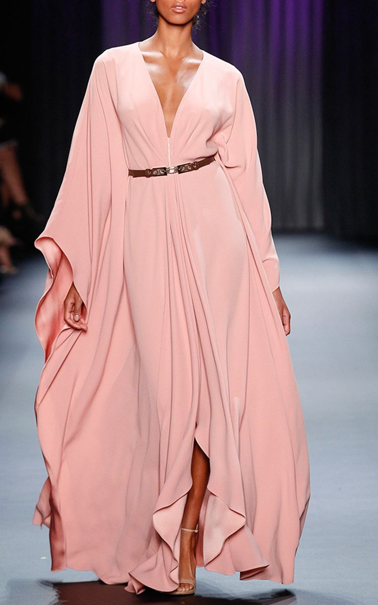 Crepe Zip Front Kaftan with Belt by ODAY SHAKAR (=)   Classic with ...