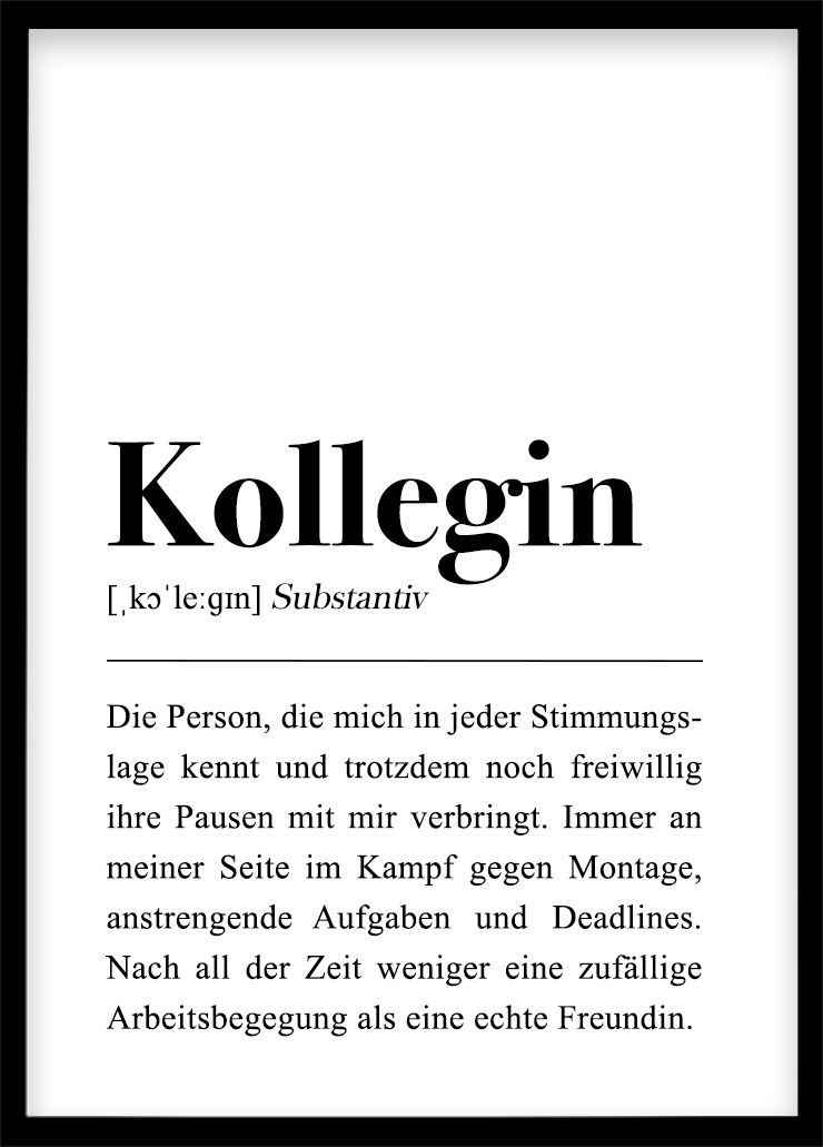 Kollegin Definition Plakat Download Dankeschon Geschenkidee