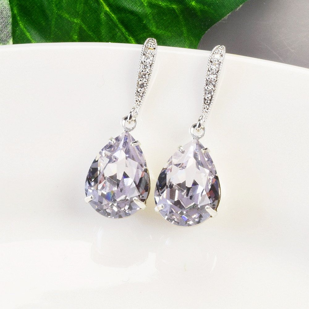 Lavender Earrings Bridal Purple Crystal Swarovski