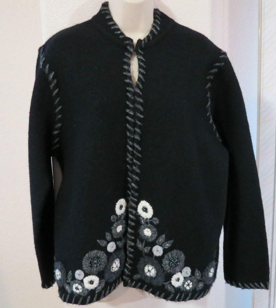 Jillian Jones Black Embroidered Boiled Wool Cardigan Sweater ...