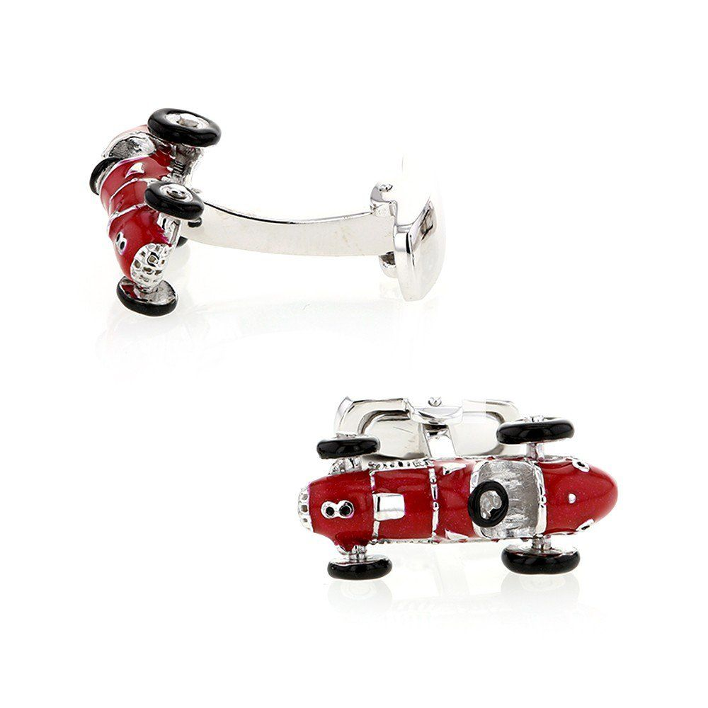 Cufflinks, Red Ferrari, Sterling Silver and Red Enamel