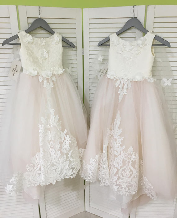 Ivory And Blush Pink Flower Girl Dress Birthday Wedding Party