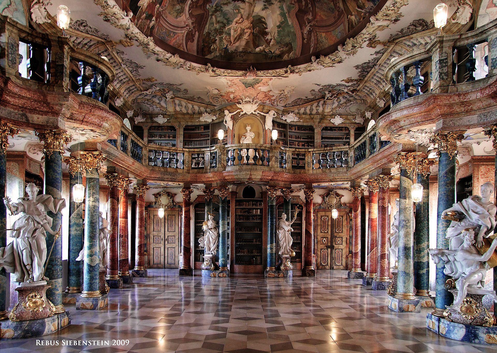 De Wiblingen Kloster Bibliothekssaal Kloster Bibliothek Barock Architektur