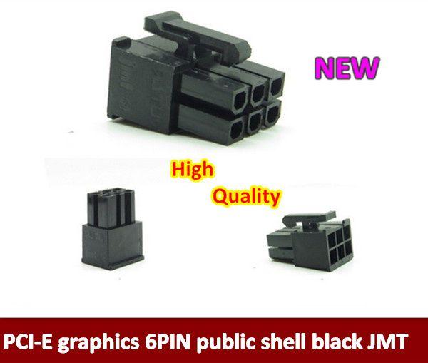 200PCS/LOT   5557 Black PCI-E graphics card plug 6pin maleconnector PCI-E power cable plastic shell