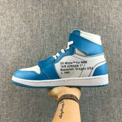 c88915091ce OFF WHITE x Air Jordan 1 UNC White University Blue AQ0818 148 Basketball  Shoe For Sale