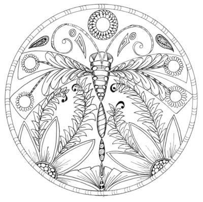 Dragonfly Floral Mandala Coloring Page Fairy Coloring Pages Peacock Coloring Pages Mandala Coloring