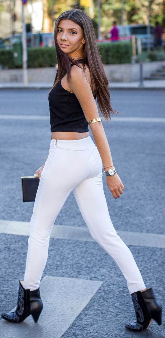 Zara White Street Chic Zipper Skinny Pants