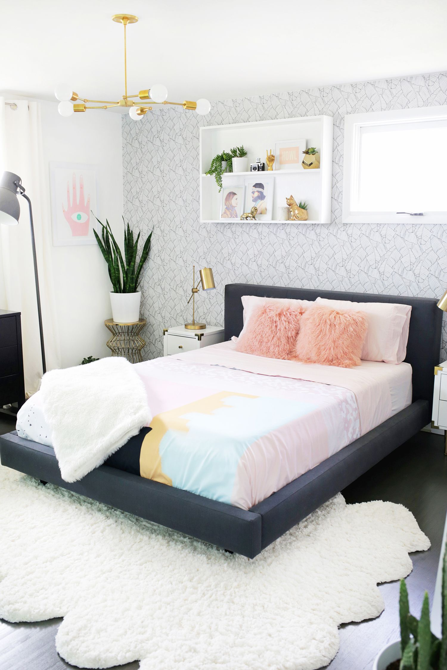 Bedroom makeover with grey wallpaper pink douvet covers gold