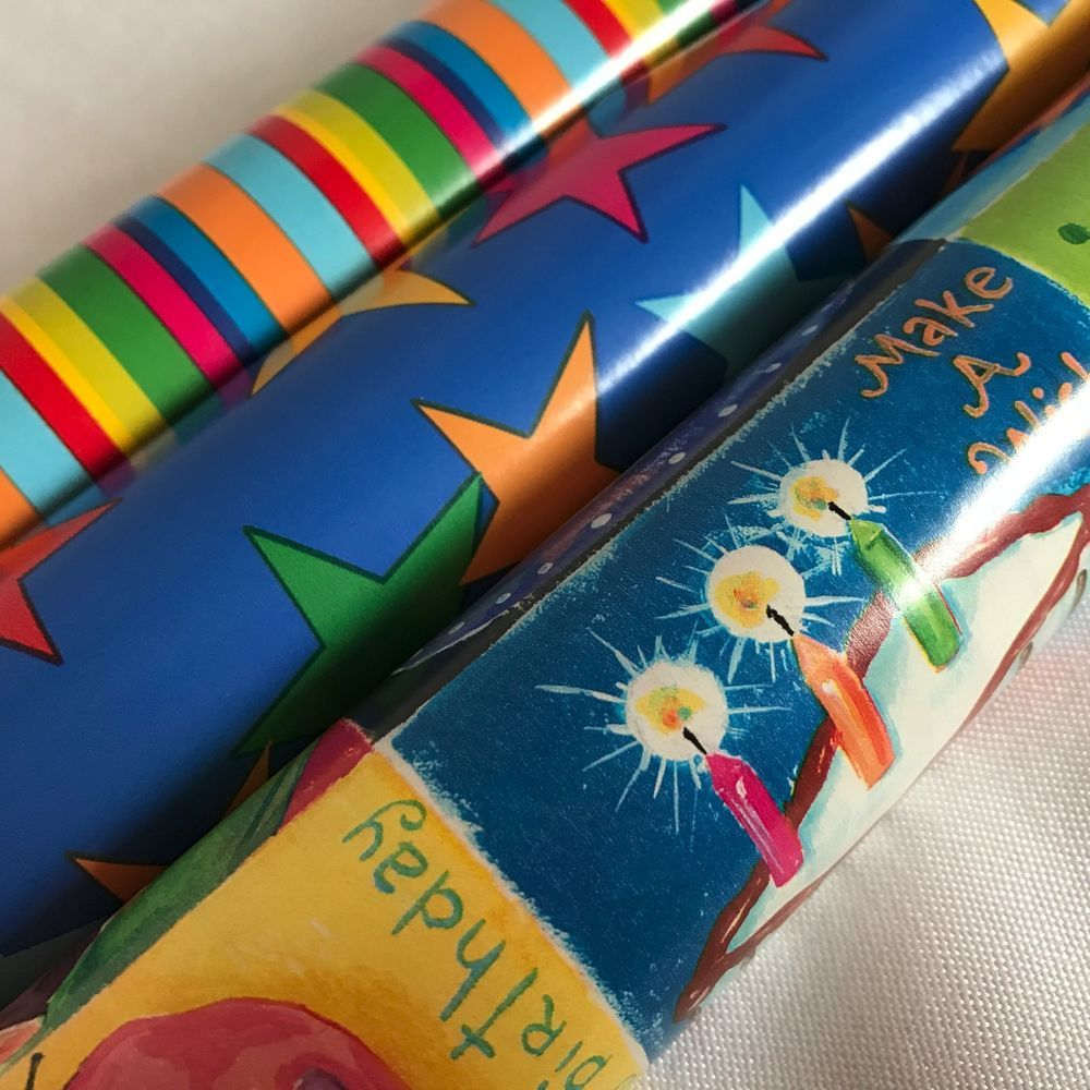Awesome Sally Foster Gift Wrap Part - 6: Sally Foster Gift Wrap Birthday Cake Stars Stripes Wrapping Paper Lot Of 3  Rolls #SallyFoster