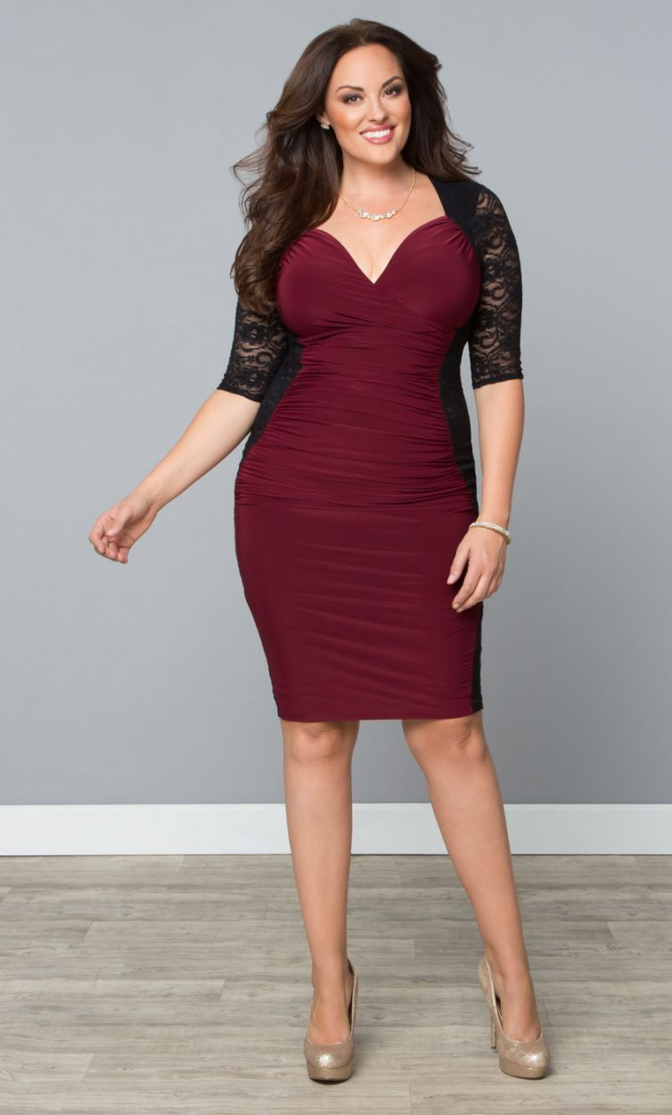 Valentina Lace Illusion Cocktail Dress – Black/Burgundy (Womens Plus ...