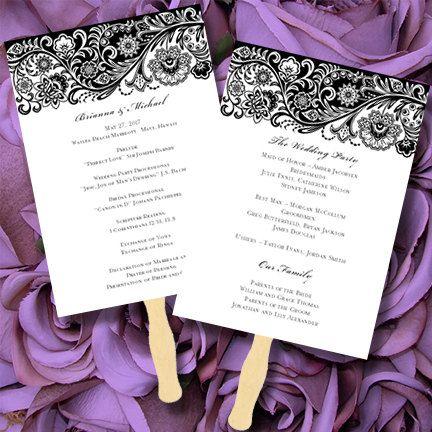 Printable Wedding Program Fan Template Black White Amelia