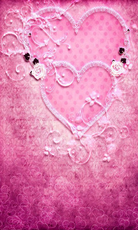 Pink hearts wallpapers couleur rose rose bonbon rose - Pink roses and hearts wallpaper ...