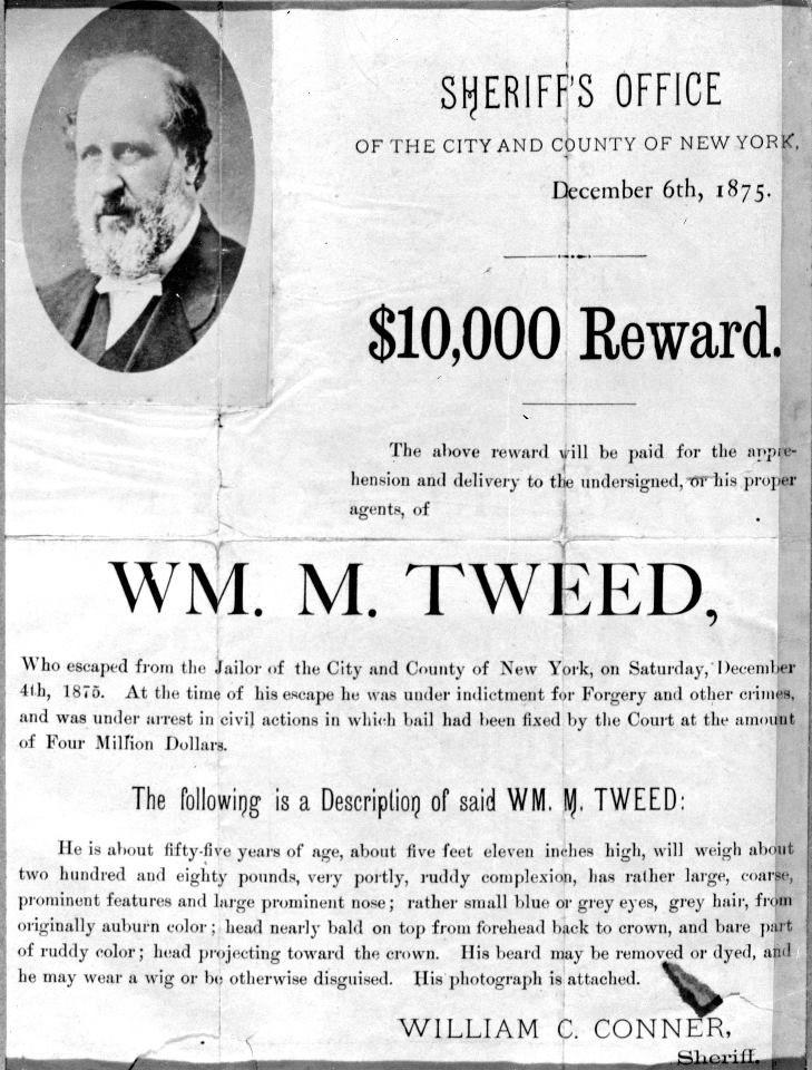 002 Boss Tweed Wanted Poster Randalls American History