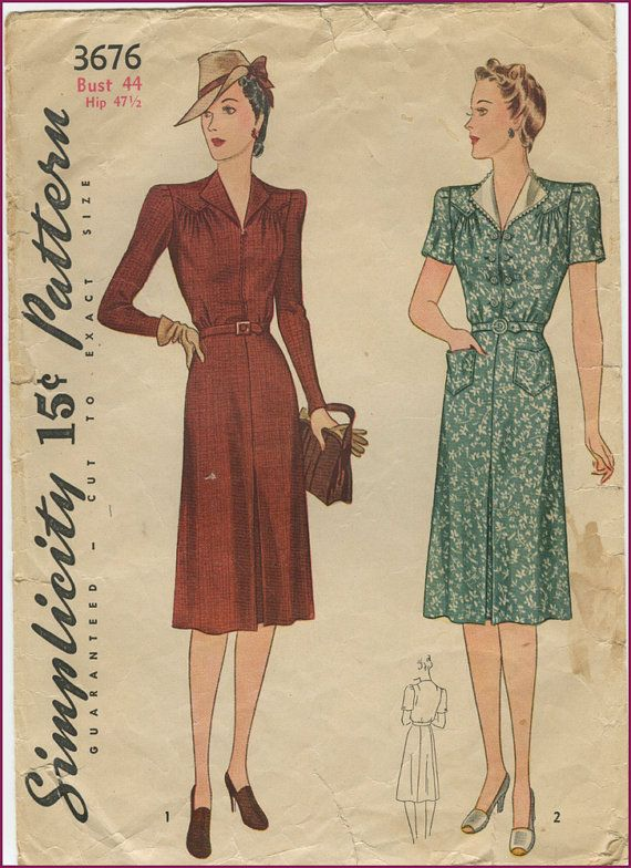 219dcce85e60 1940s pointed yoke rever dress | My vintage patterns