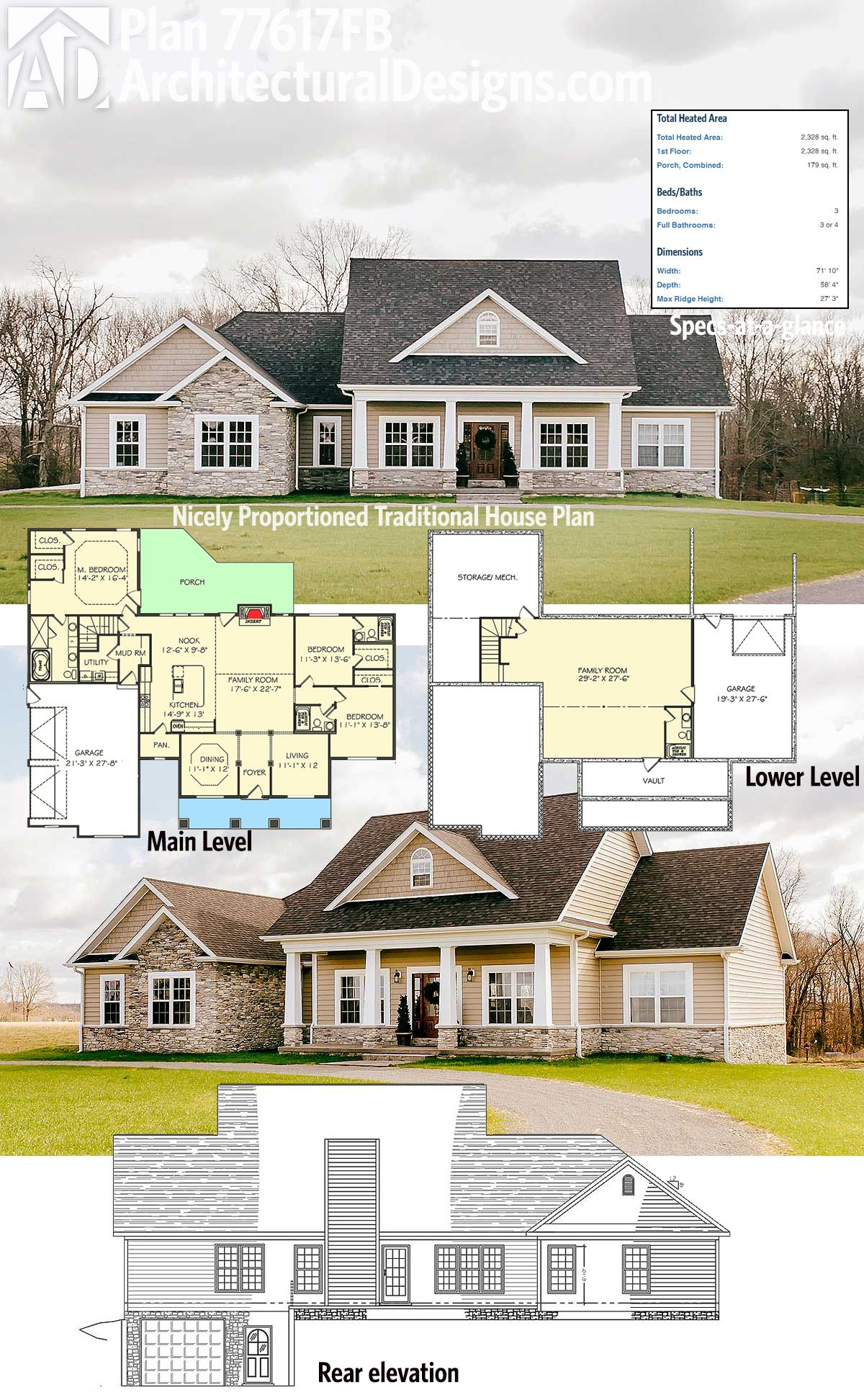 Architectural Designs 3 Bed Traditional House Plan Has Classic Good Looks,  A Side Load