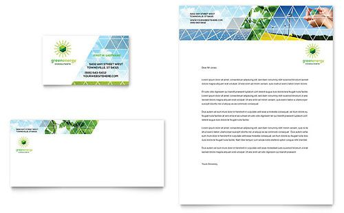 Green Energy Consultant Business Card  Letterhead Template Design