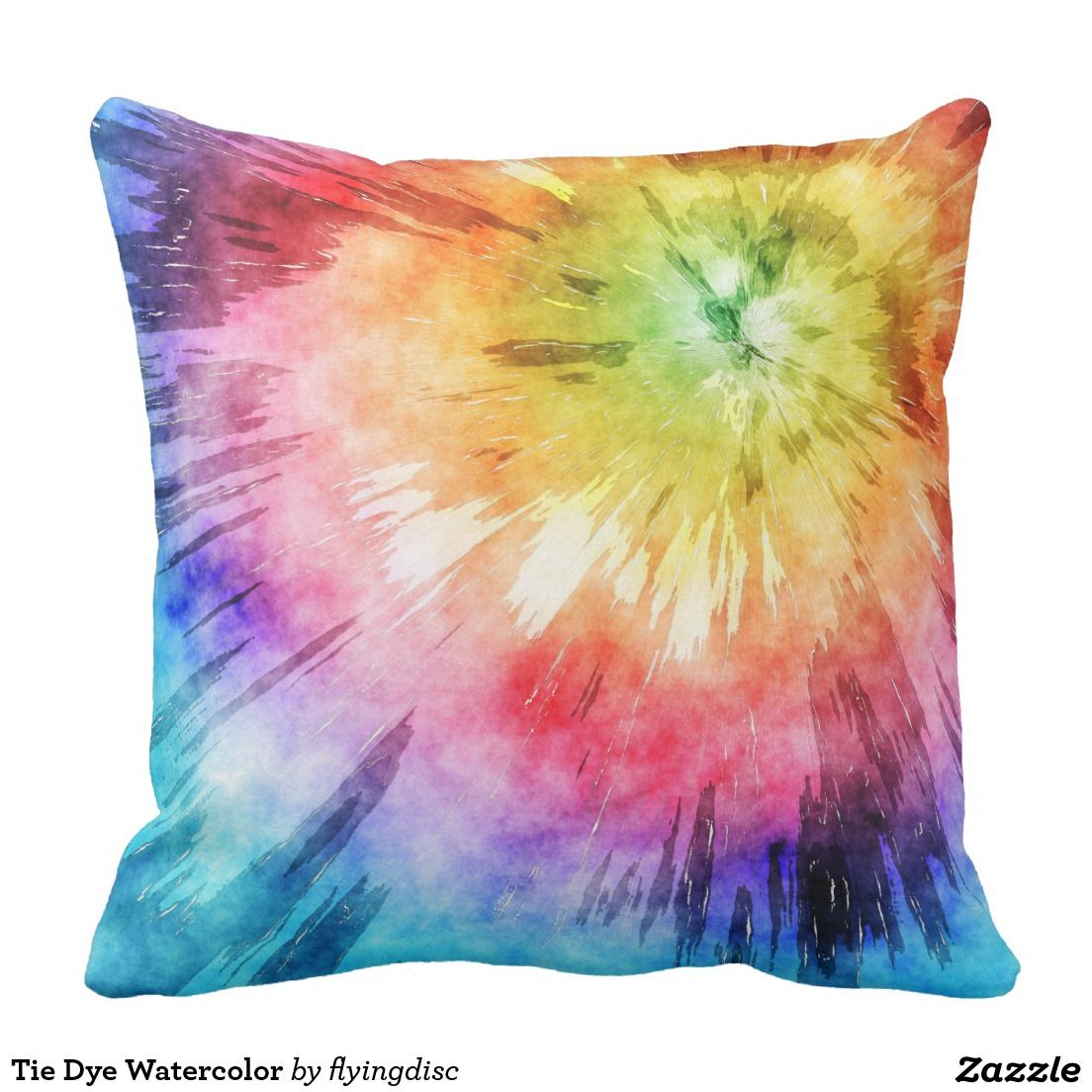 Rainbow Colorburst Tie Dye Throw Pillow | see this colorful pillow ...