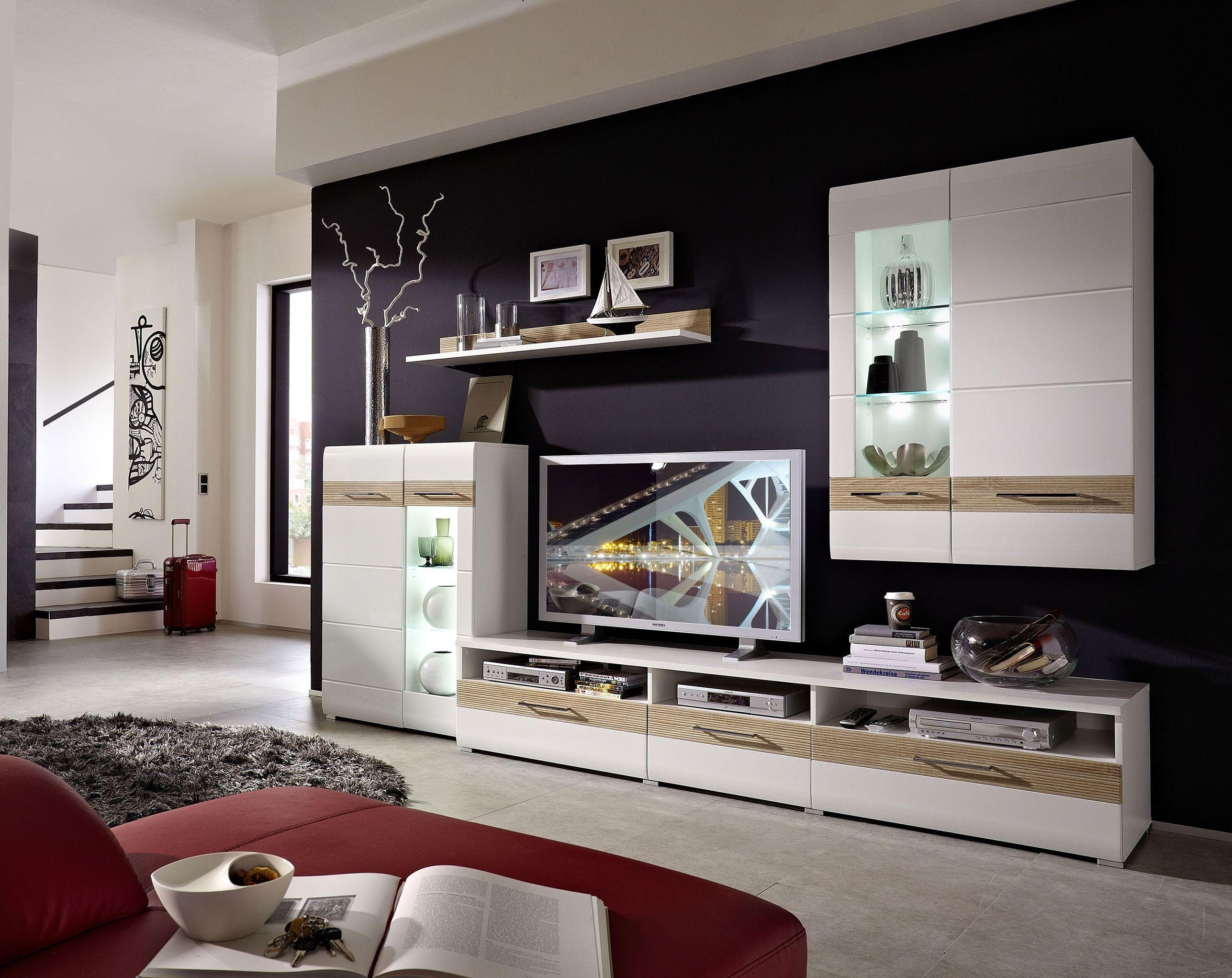 Wohnwand modern eiche weiß  Nett wohnwand angebot | Deutsche Deko | Pinterest | Wohnwand weiss ...