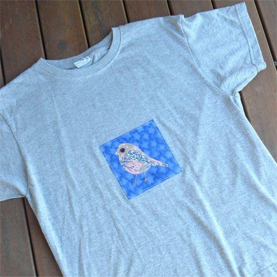 Bird tshirt womens slim fit grey gray applique robin by BoosTees, $18.00