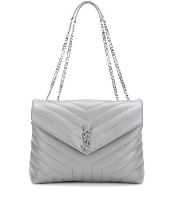 Loulou Medium Quilted Leather Shoulder Bag - Gray Saint Laurent hf6iogs3i