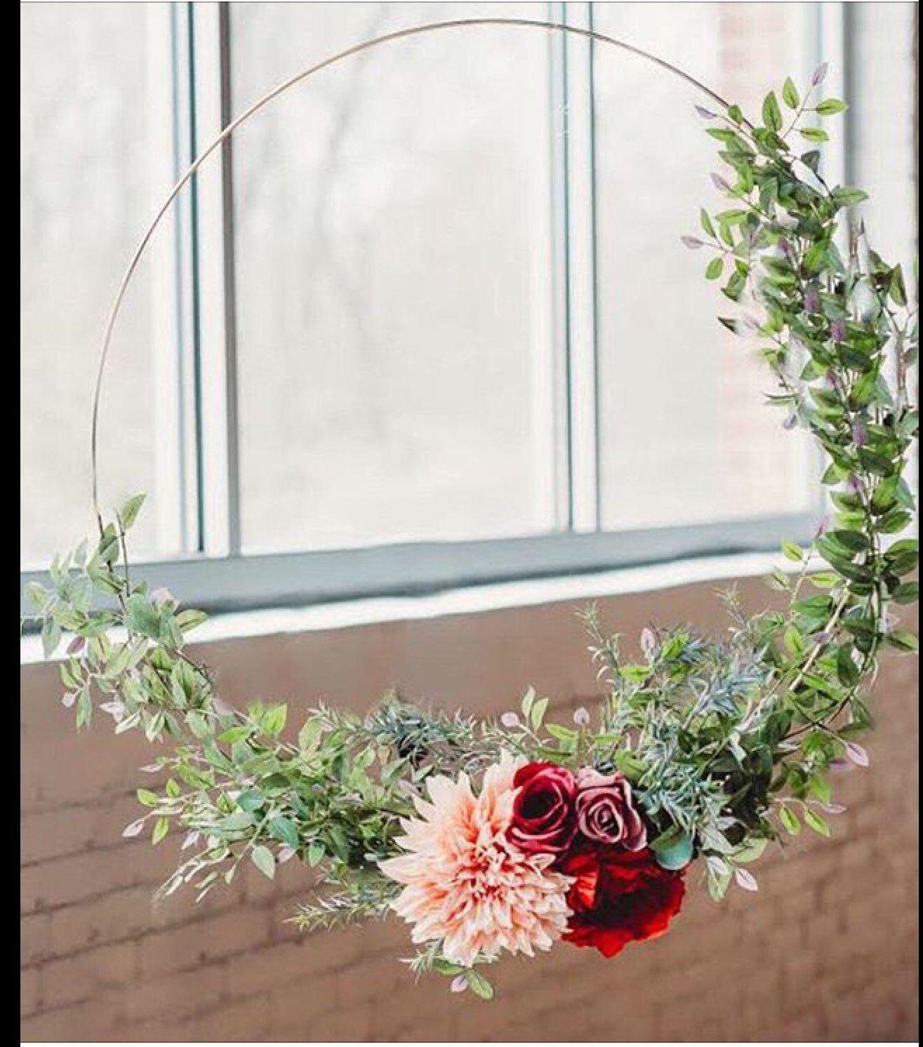 Eucalyptus Roses Dahlia Greenery 18 Gold Metal Ring Diy Wedding Backdrop Wedding Decorations Wedding Backdrop